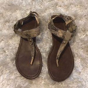 Faux snake skin strappy sandals